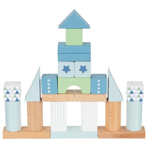 Set de construit cu 50 de piese din lemn - Albastru imagine edituradiana.ro