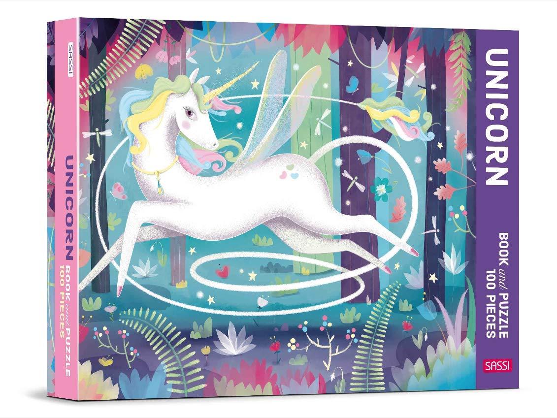 Set puzzle cu 100 de piese + carte - Unicorn imagine edituradiana.ro