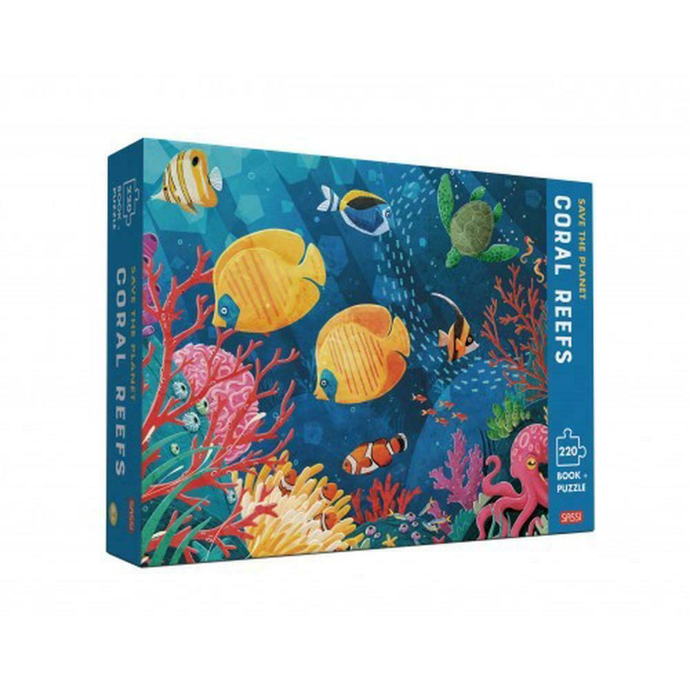 Set puzzle cu 220 de piese + carte - Să salvăm planeta. Recif de corali imagine edituradiana.ro