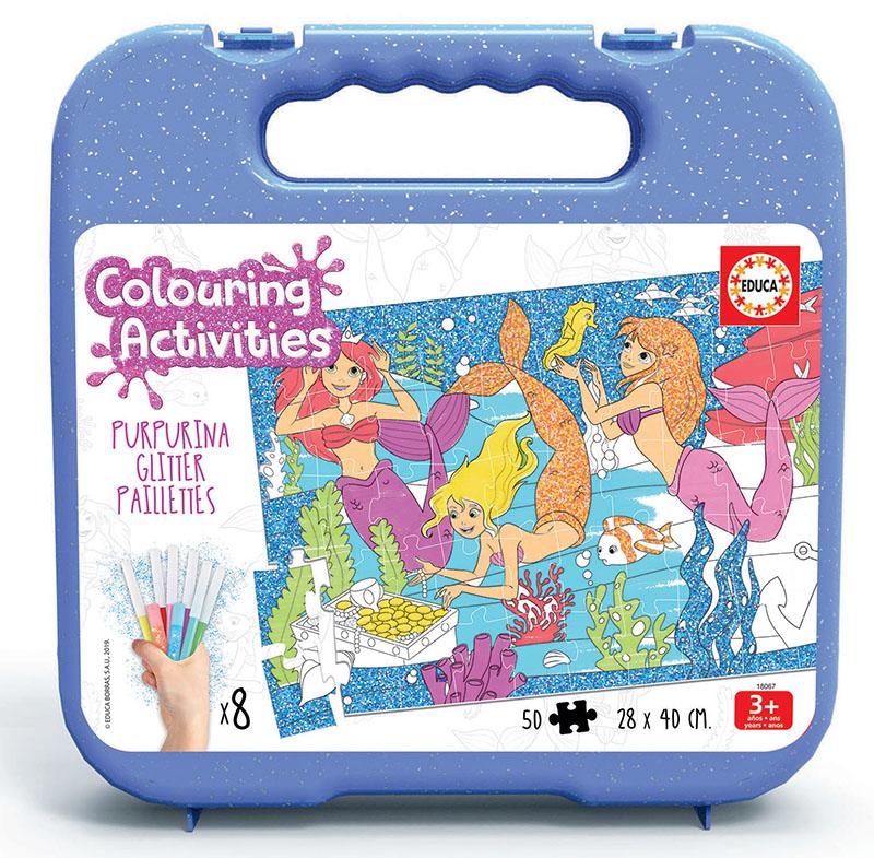 Set Puzzle de colorat cu 50 de piese și 8 carioci - Sirene imagine edituradiana.ro