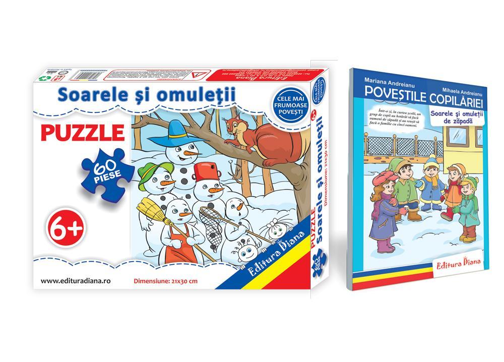 Soarele și omuleții de zăpadă - Set Puzzle + Carte tip acordeon imagine edituradiana.ro