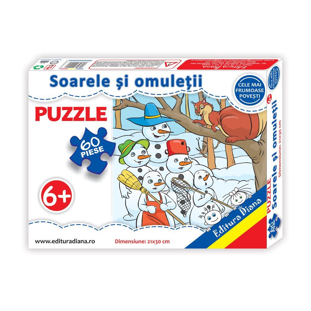 Soarele si omuleții de zăpadă - Puzzle 60 piese imagine edituradiana.ro