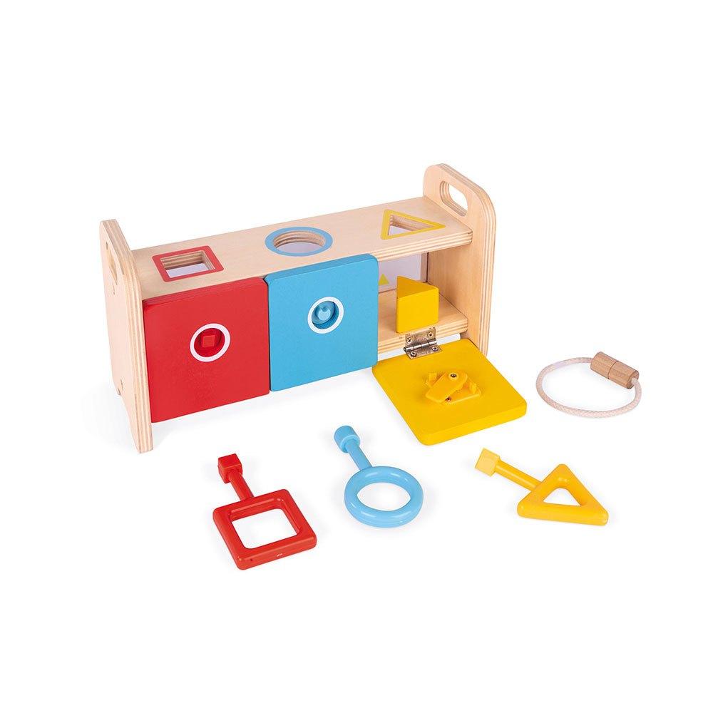Sortător de forme din lemn cu 6 cuburi și 3 chei din plastic imagine edituradiana.ro