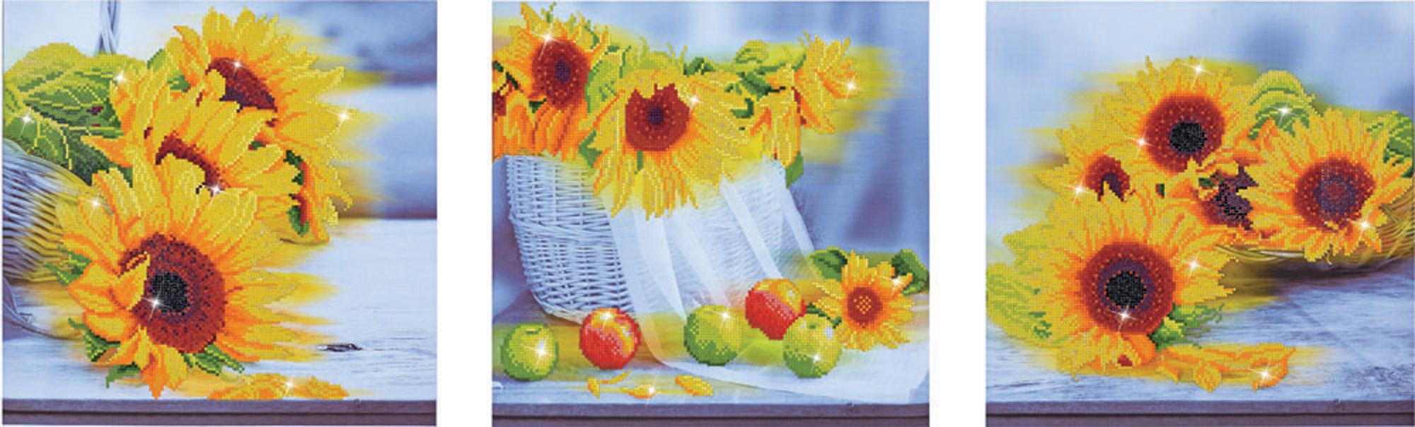 Tablou 3 în 1 cu diamante - Florile soarelui, 42 x 142 cm imagine edituradiana.ro