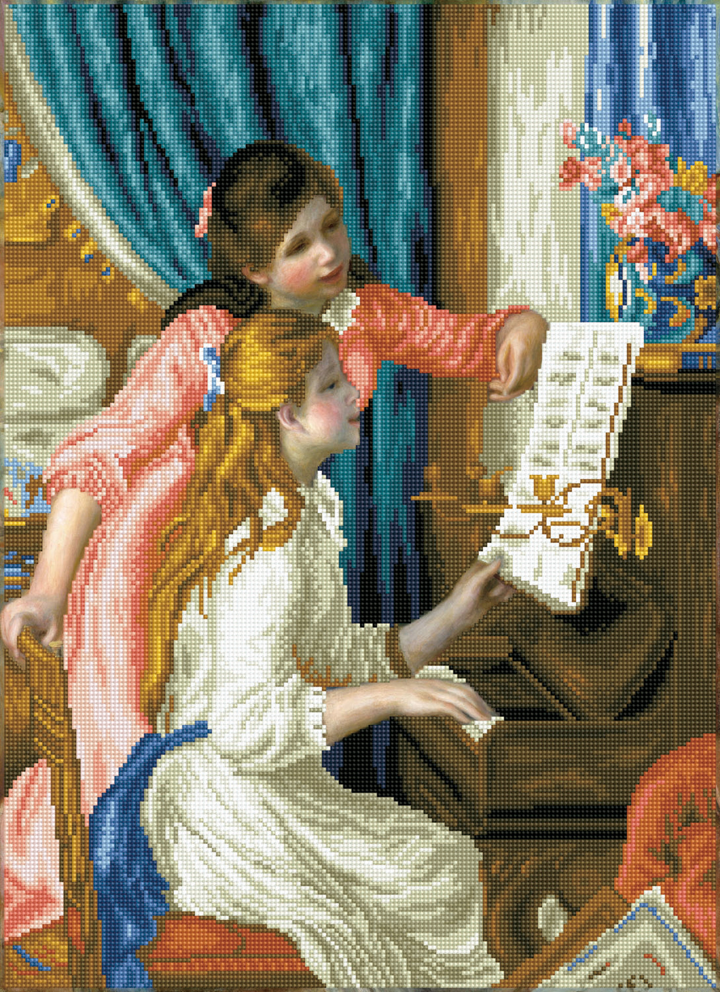 Tablou cu diamante - Fete la pian (Renoir), 66 x 48 cm imagine edituradiana.ro