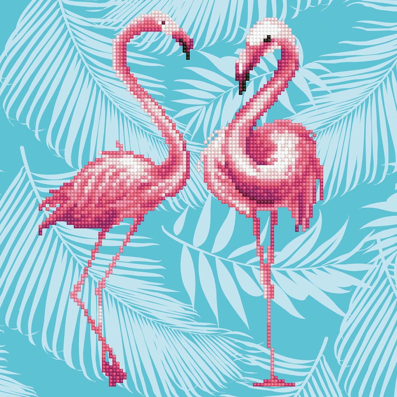 Tablou cu diamante - Flamingo Duo, 37 x 65 cm imagine edituradiana.ro