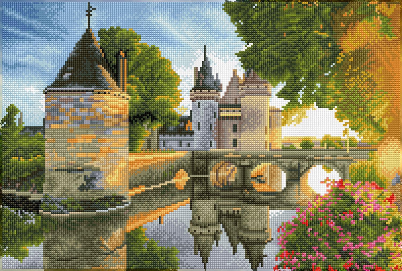 Tablou cu diamante înrămat – Castelul de pe râu, 35 x 52 cm imagine edituradiana.ro