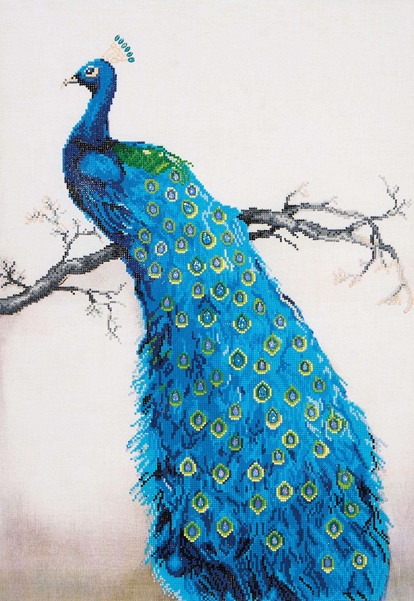 Tablou cu diamante - Păun albastru, 84 x 60 cm imagine edituradiana.ro
