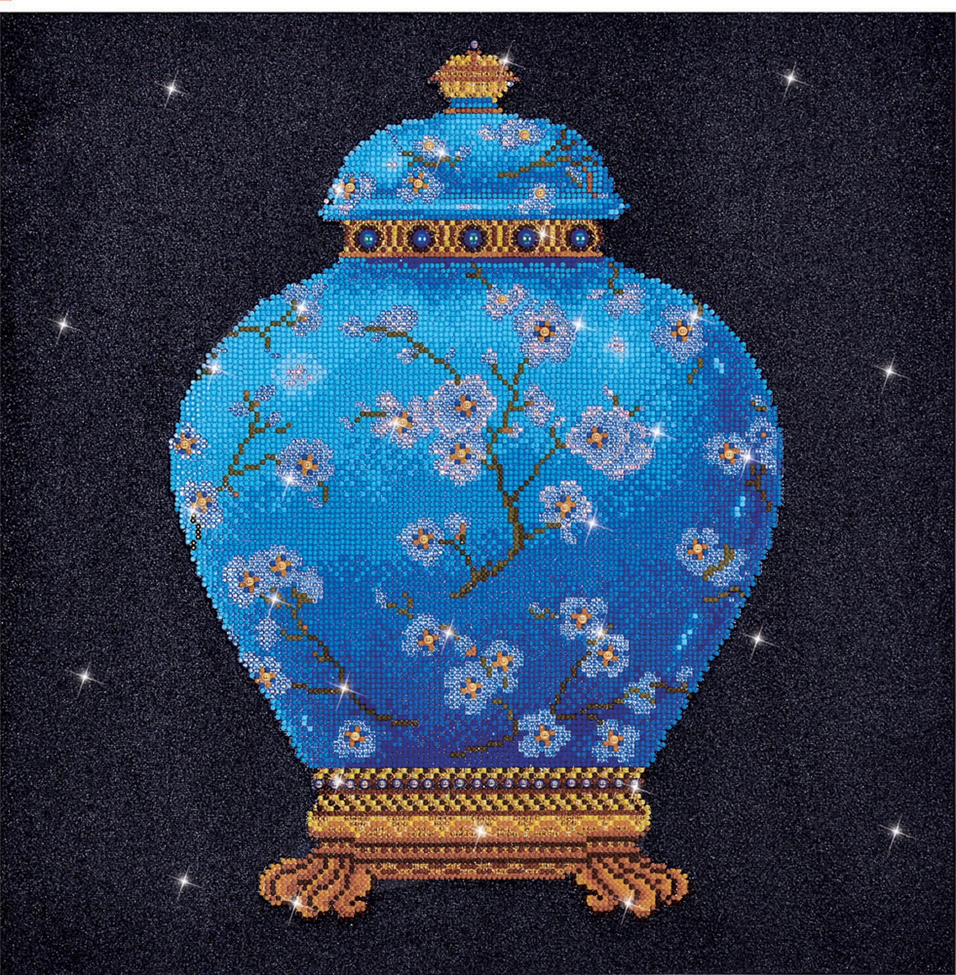 Tablou cu diamante - Vază albastră, 52 x 52 cm imagine edituradiana.ro