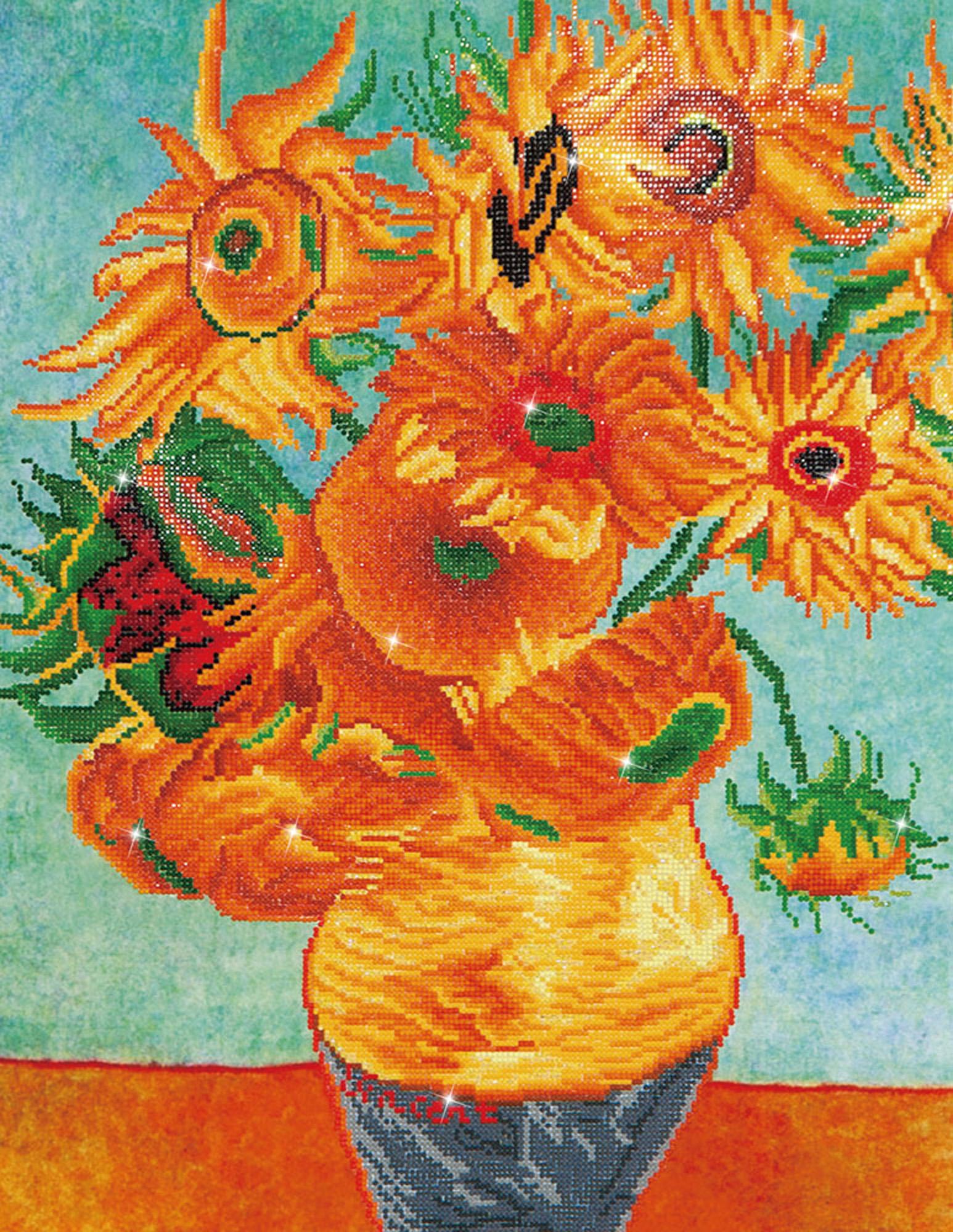Tablou cu diamante - Vaza cu flori (Van Gogh), 71 x 56 cm imagine edituradiana.ro