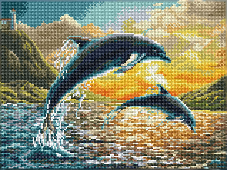 Tablou cu diamante – Delfini la apus