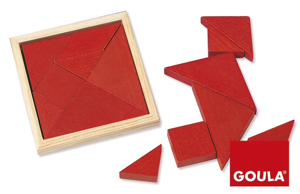 Tangram cu 7 piese din lemn roșu imagine edituradiana.ro