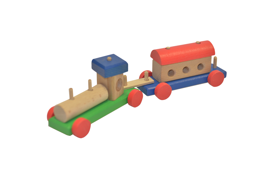 Trenuleț din lemn cu locomotivă imagine edituradiana.ro