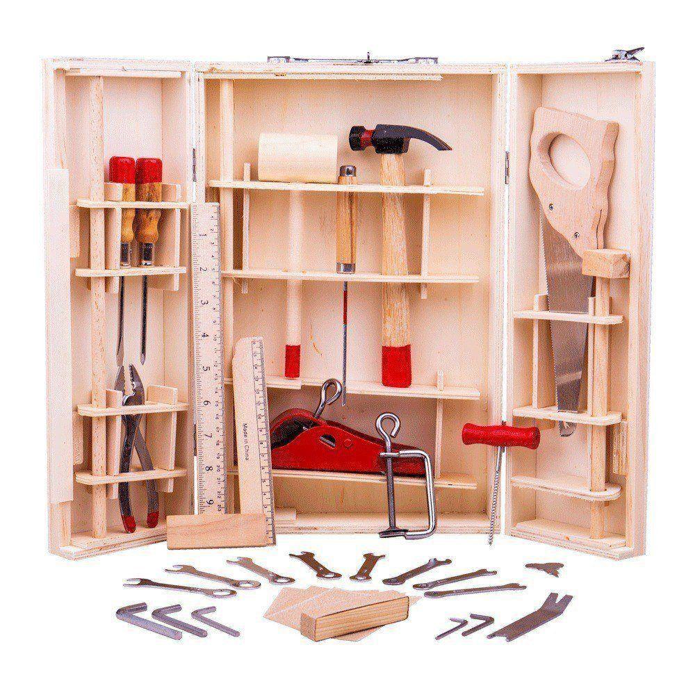 Trusă din lemn cu 28 de unelte pentru micul meșter imagine edituradiana.ro