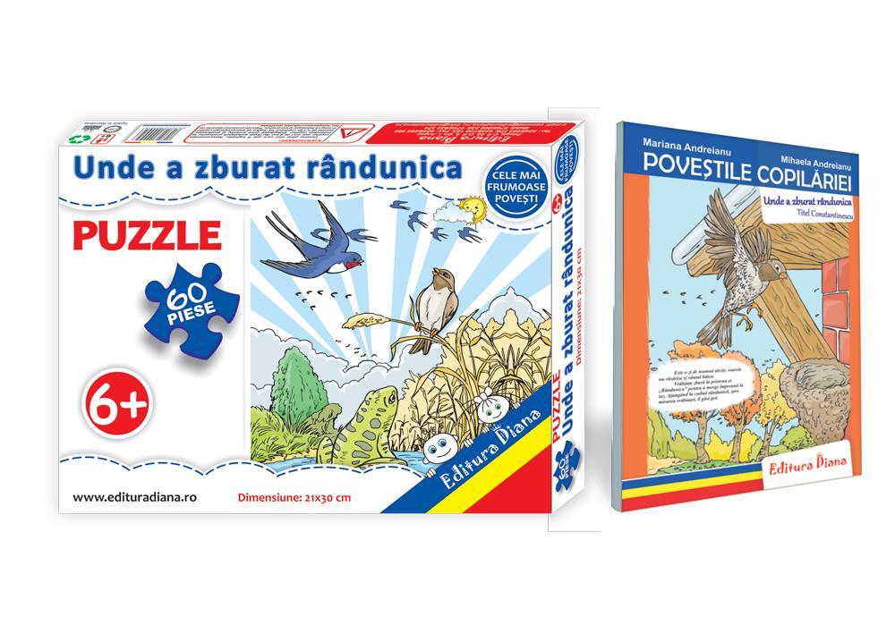 Unde a zburat randunica - Set Puzzle + Carte tip acordeon imagine edituradiana.ro