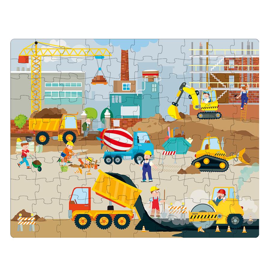 Vehicule de șantier - Carte + puzzle uriaș imagine edituradiana.ro