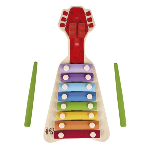 Xilofon de jucărie din lemn, cu 2 baghete, în formă de chitară imagine edituradiana.ro