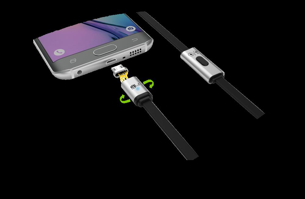 Cablu USB magnetic de incarcare si transfer de date pentru Android, cu 2 adaptori in pachet, cea mai buna calitate de la AMAGIC