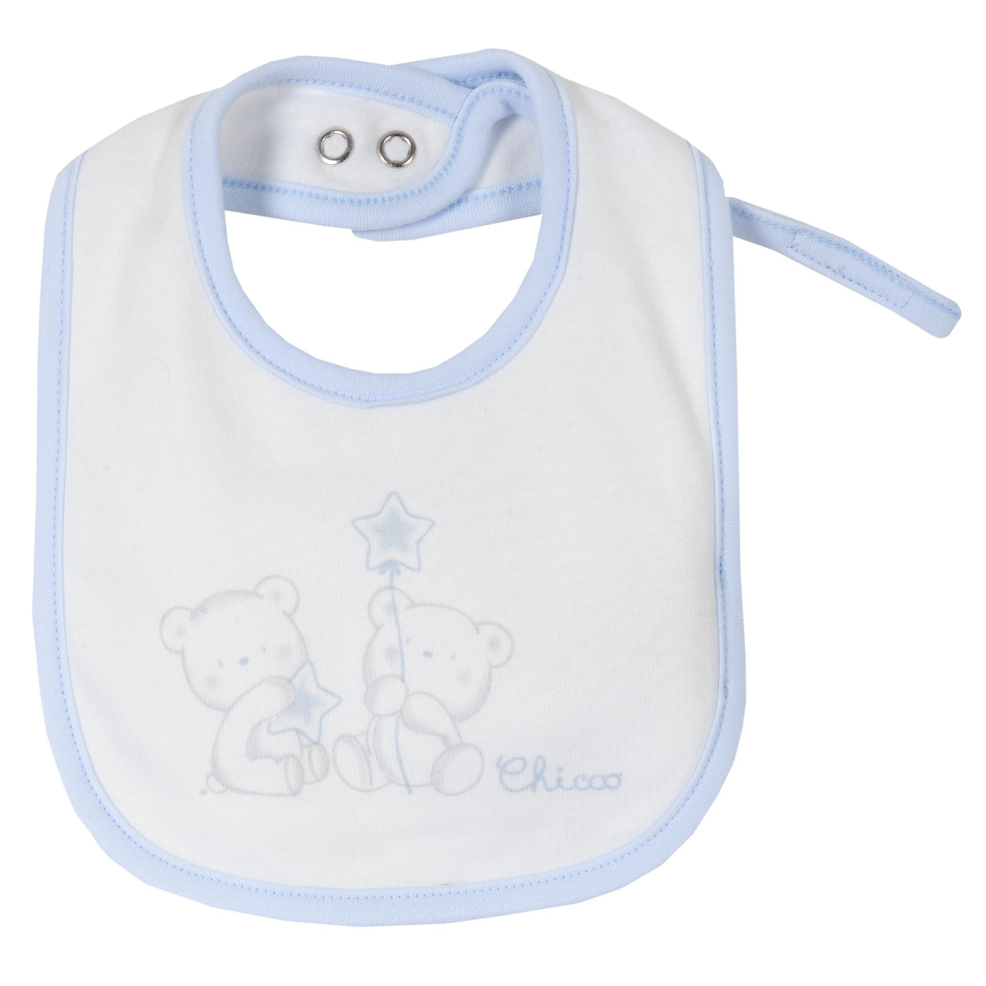 Baveta copii Chicco, alb cu albastru, 32720