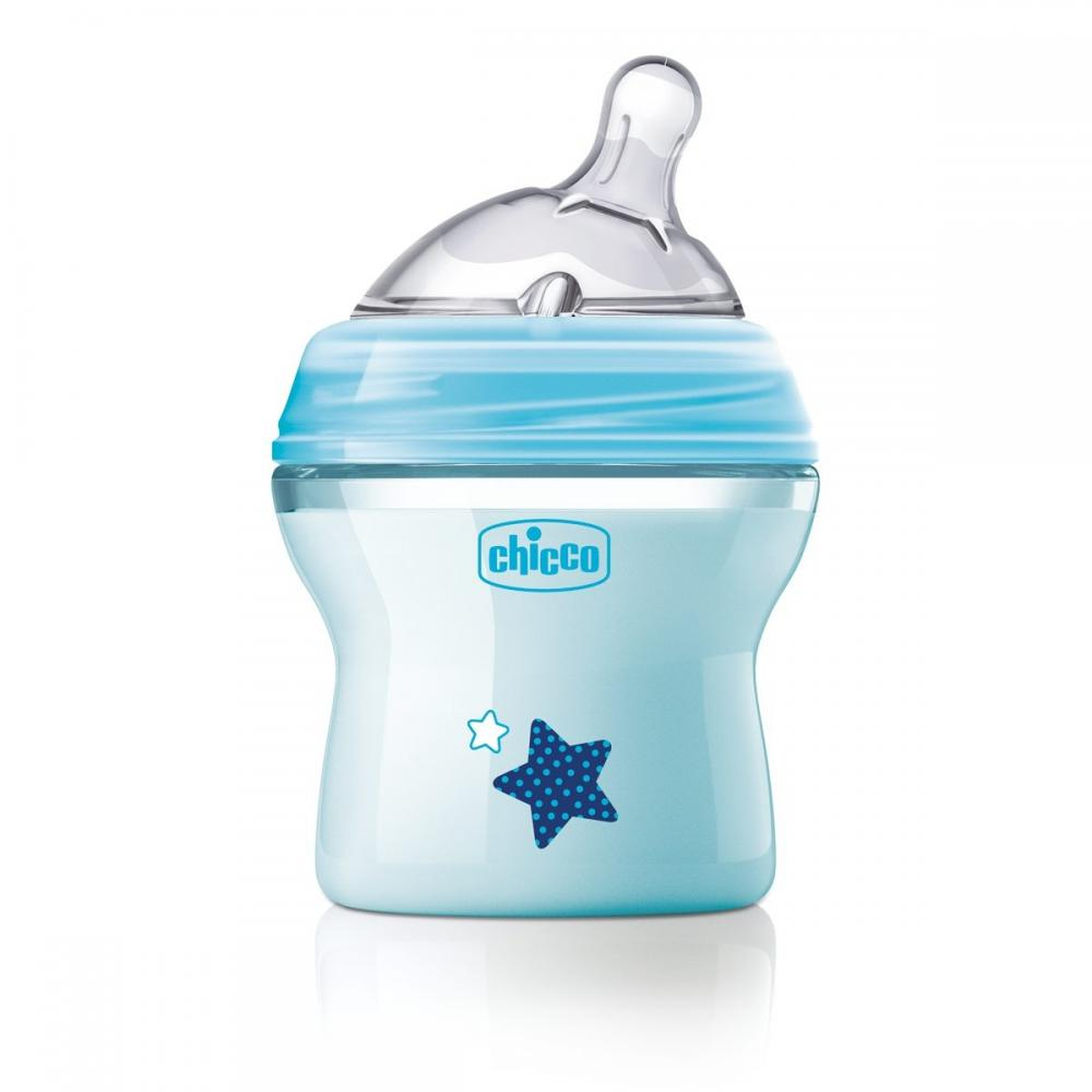 Biberon Chicco Natural Feeling plastic bleu 150ml t.s. inclinata 0luni+ flux normal 0%BPA