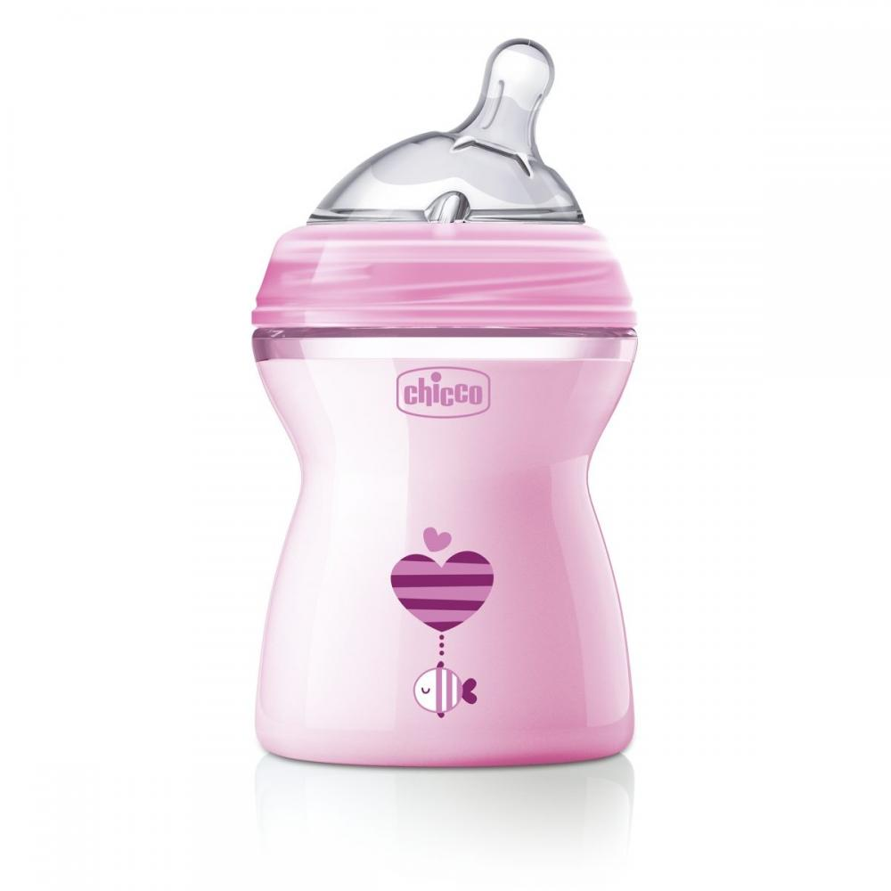 Biberon Chicco Natural Feeling roz 250ml t.s. 2luni+ 0%BPA