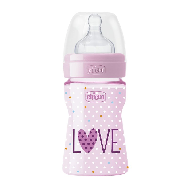 Biberon Chicco WellBeing Love Edition, PP, 150ml, tetina silicon, flux normal, Girl, 0%BPA, 0luni+