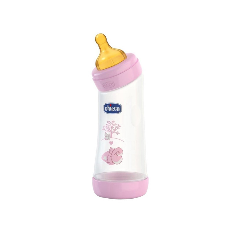 Biberon Chicco WellBeing PP in unghi, girl, 250ml, t.c., flux normal, 0+luni, 0%BPA