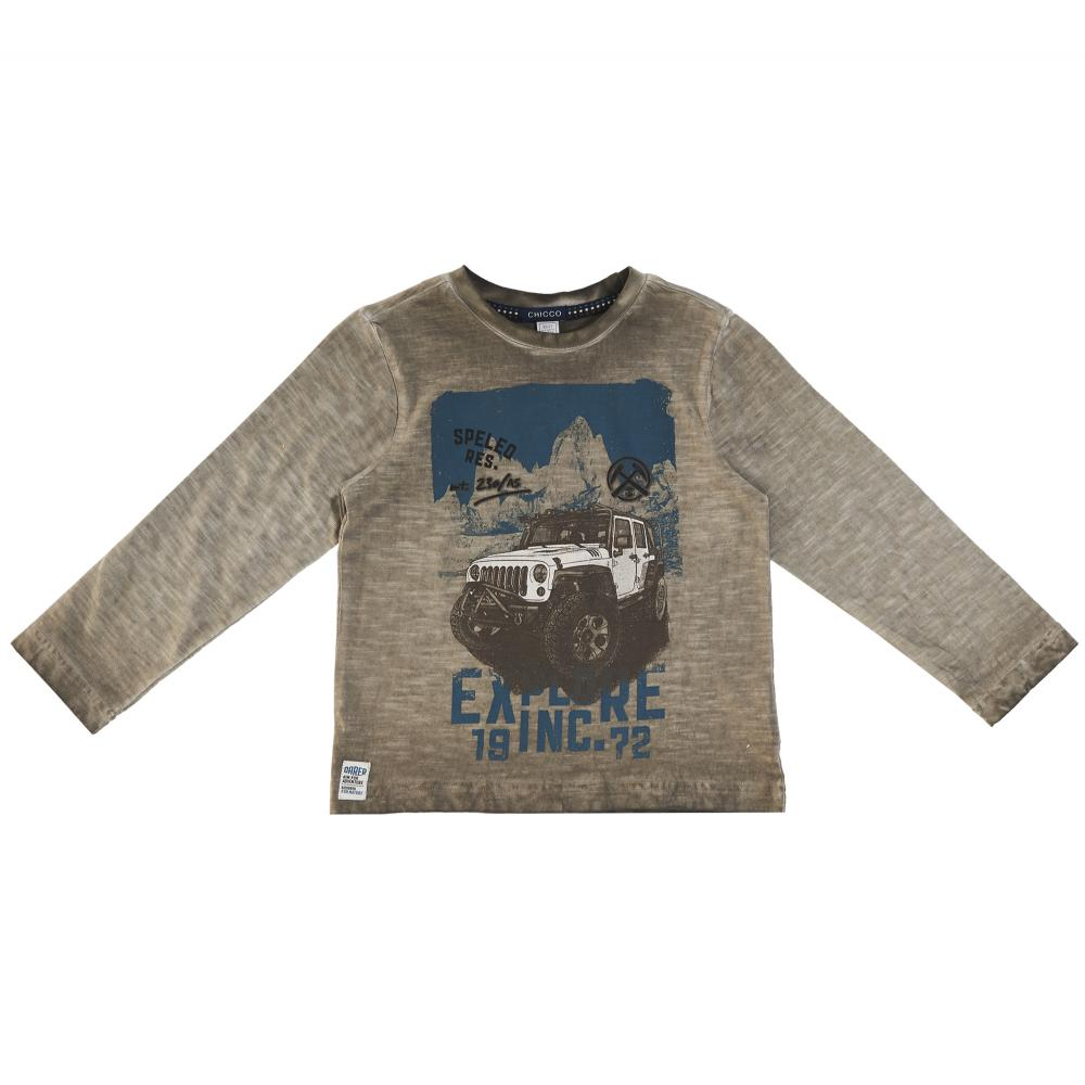 Bluza copii Chicco maro cu model albastru 128
