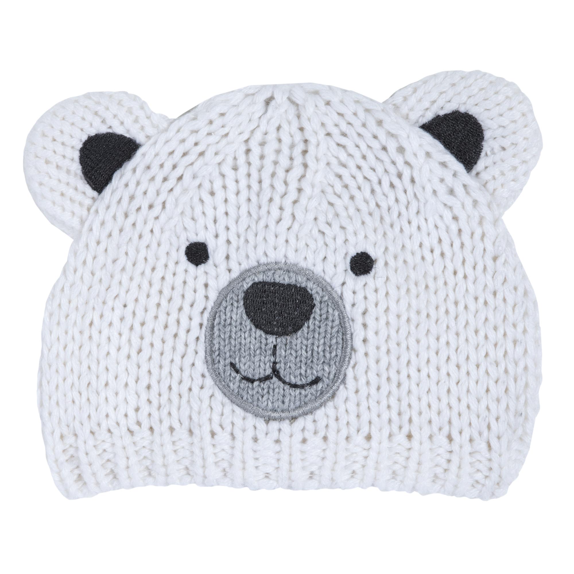 Caciula copii Chicco, tricotata, alb, forma ursulet, 04545