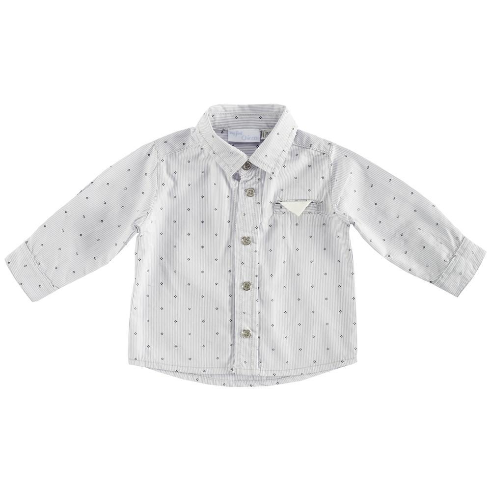 Camasa copii Chicco, maneca lunga, alb cu model, 54351