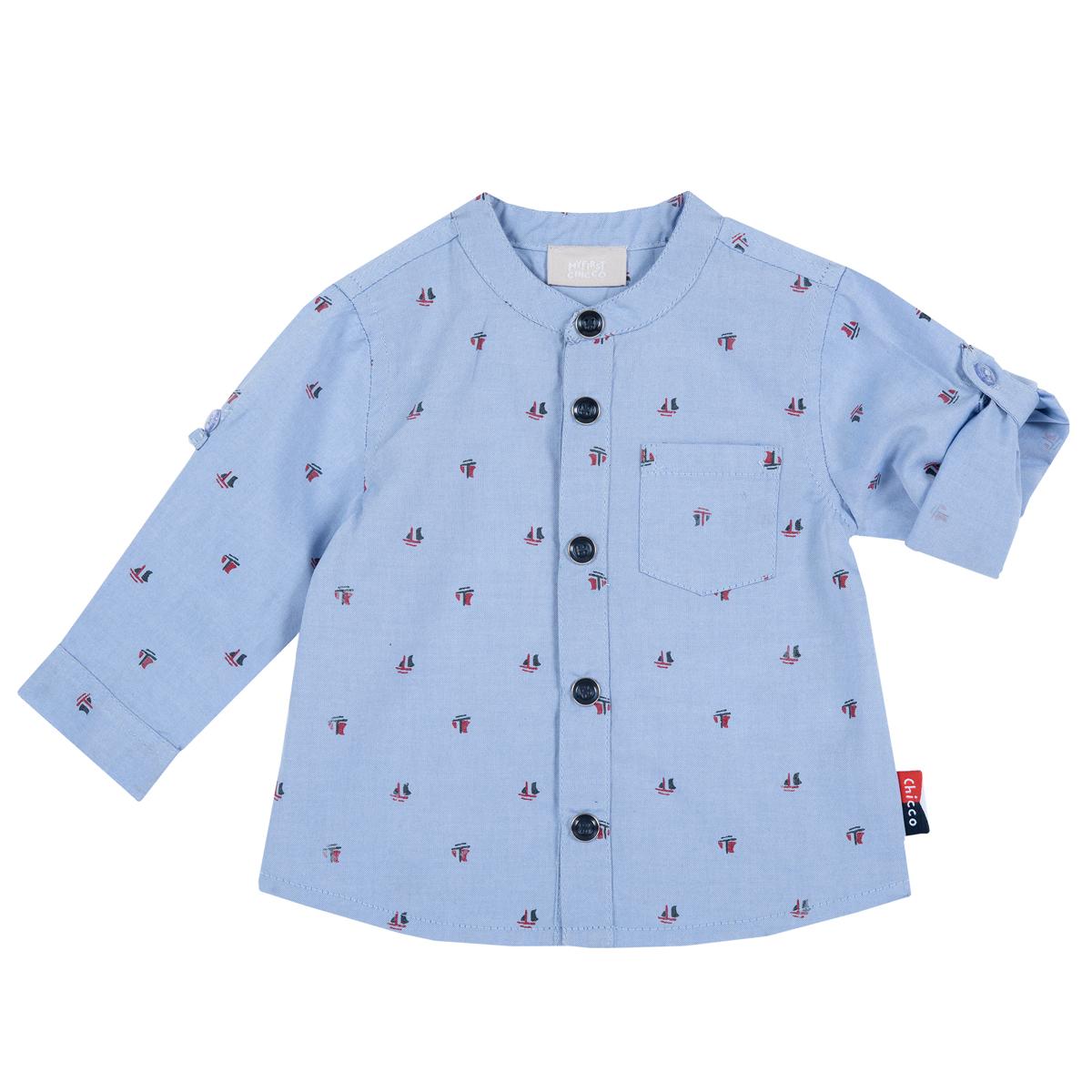Camasa Copii Chicco, Tip Oxford, Albastru Cu Roz, 54519 imagine