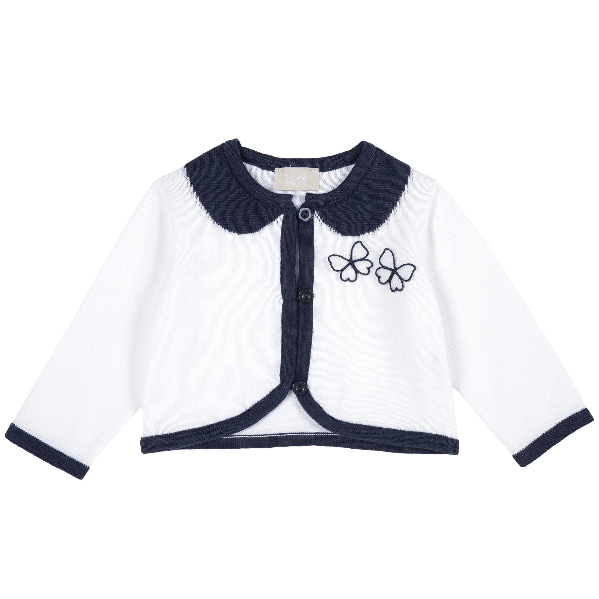 Cardigan copii Chicco, tricotat, alb cu bleumarin, 96803 din categoria Cardigan copii