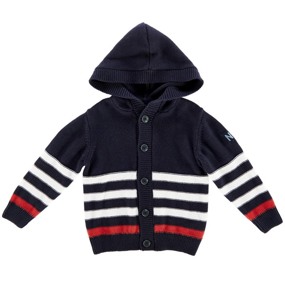 Cardigan tricotat cu gluga copii Chicco baieti bleumarin cu alb si rosu 98