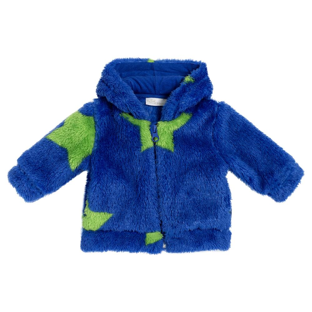Cardigan cu gluga Chicco, albastru deshis, blana artificiala, 96265