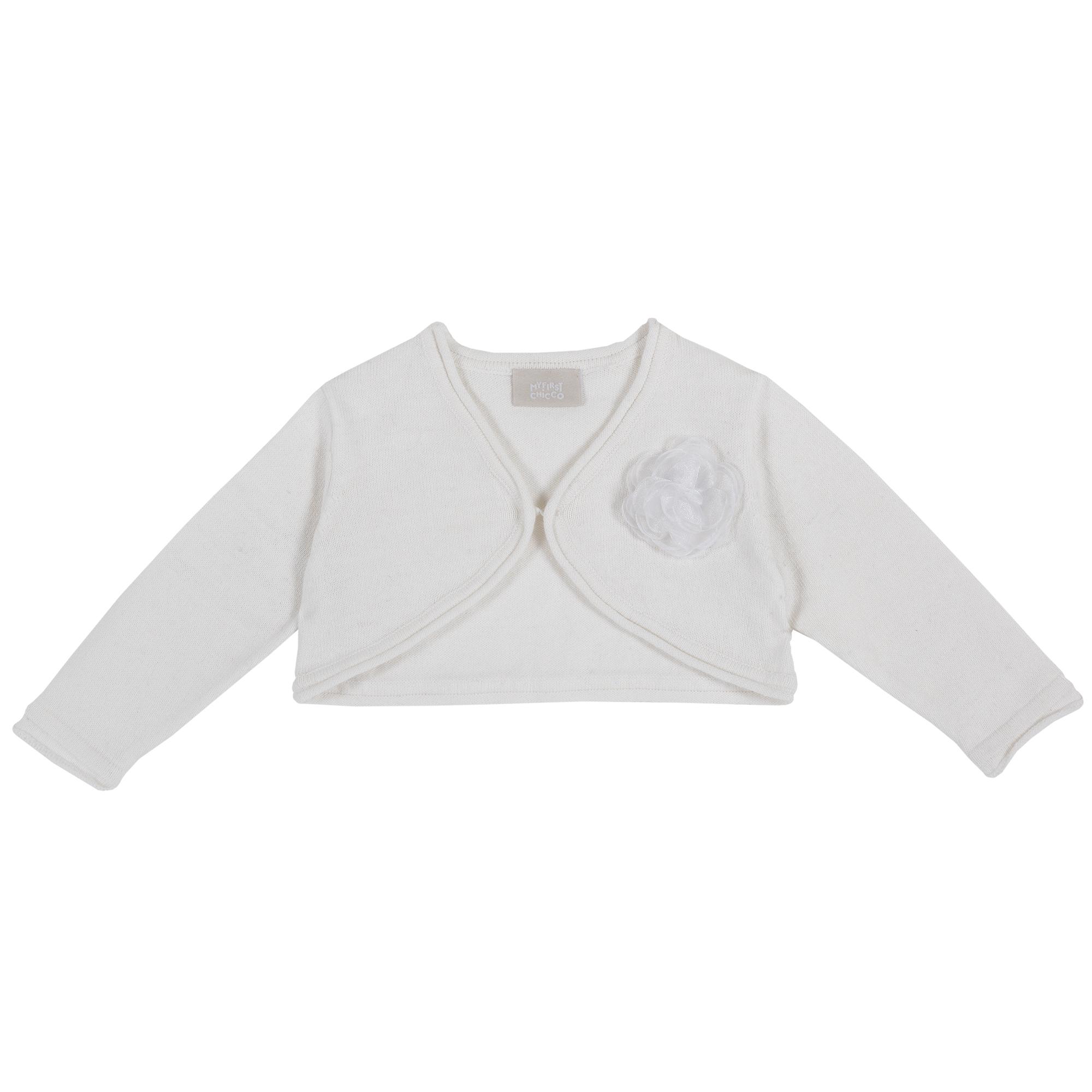 Cardigan copii Chicco, tricotat, floare aplicata, alb, 09348