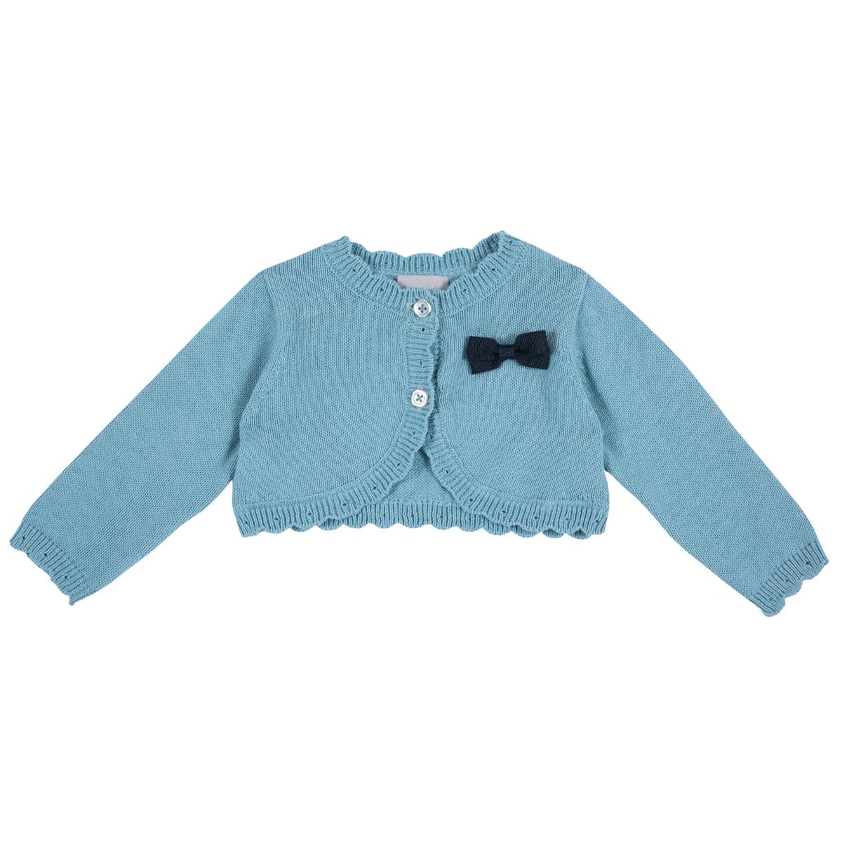 Cardigan copii Chicco, turcoaz cu danteluta tricotata, 96944