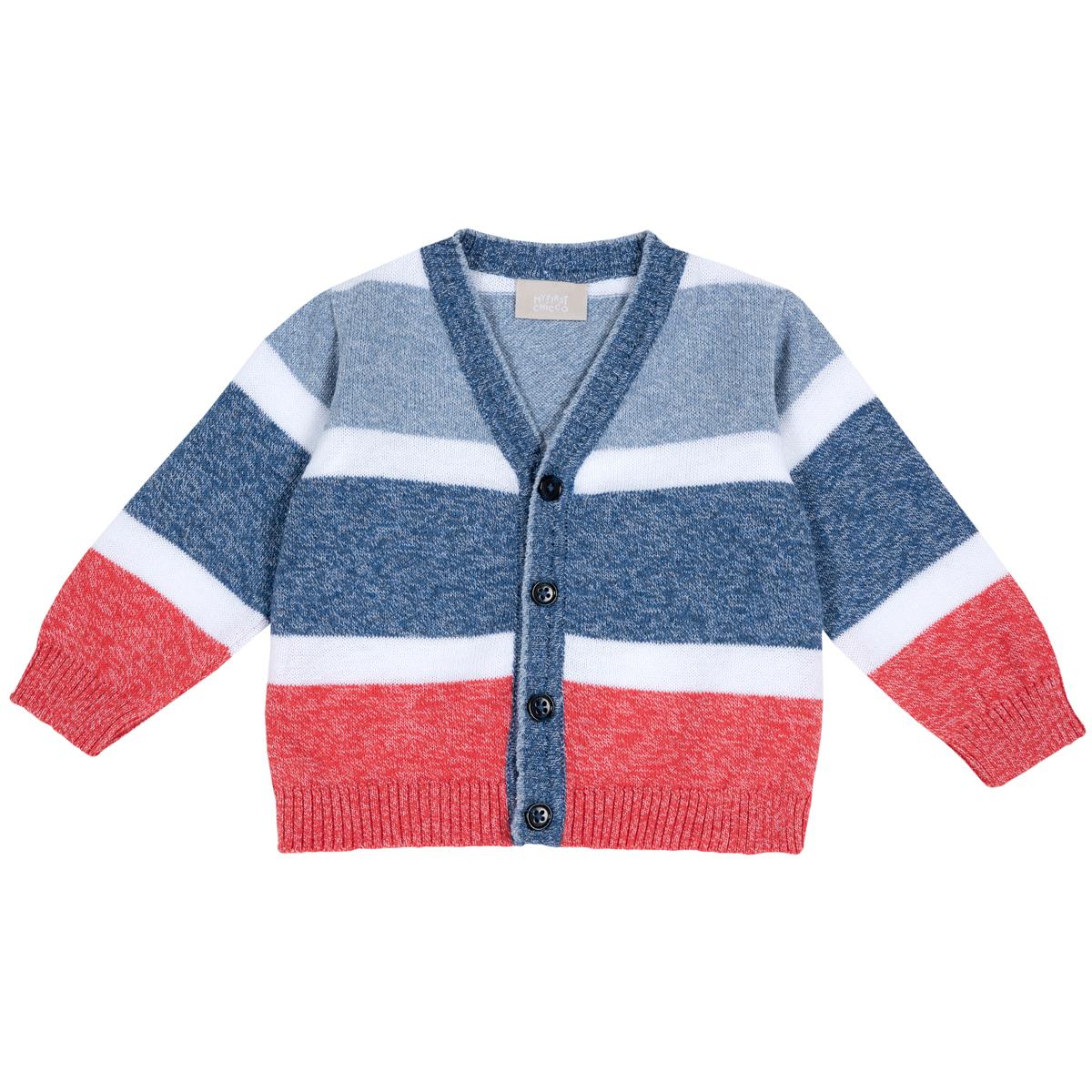 Cardigan Copii Chicco, Tricotat, Alb Cu Bleumarin, 09360 imagine