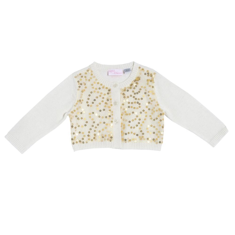 Cardigan tricotat Chicco alb cu paiete aurii amestec lana 80