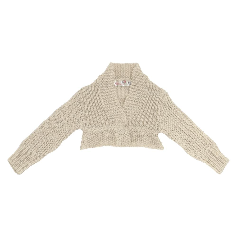 Cardigan tricotat Chicco, bej, amestec lana din categoria Cardigan copii