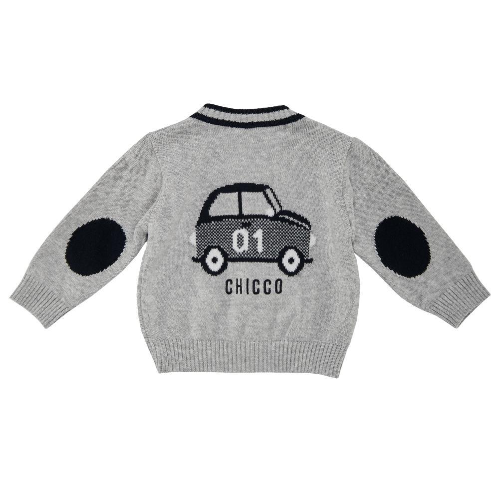 Cardigan tricotat copii Chicco, baieti, gri cu bleumarin
