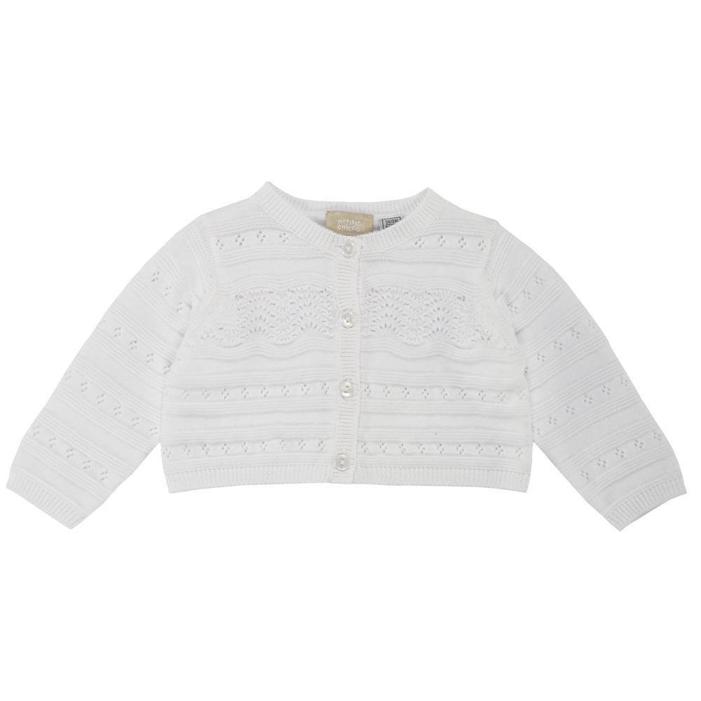 Cardigan tricotat copii Chicco, fetite, alb