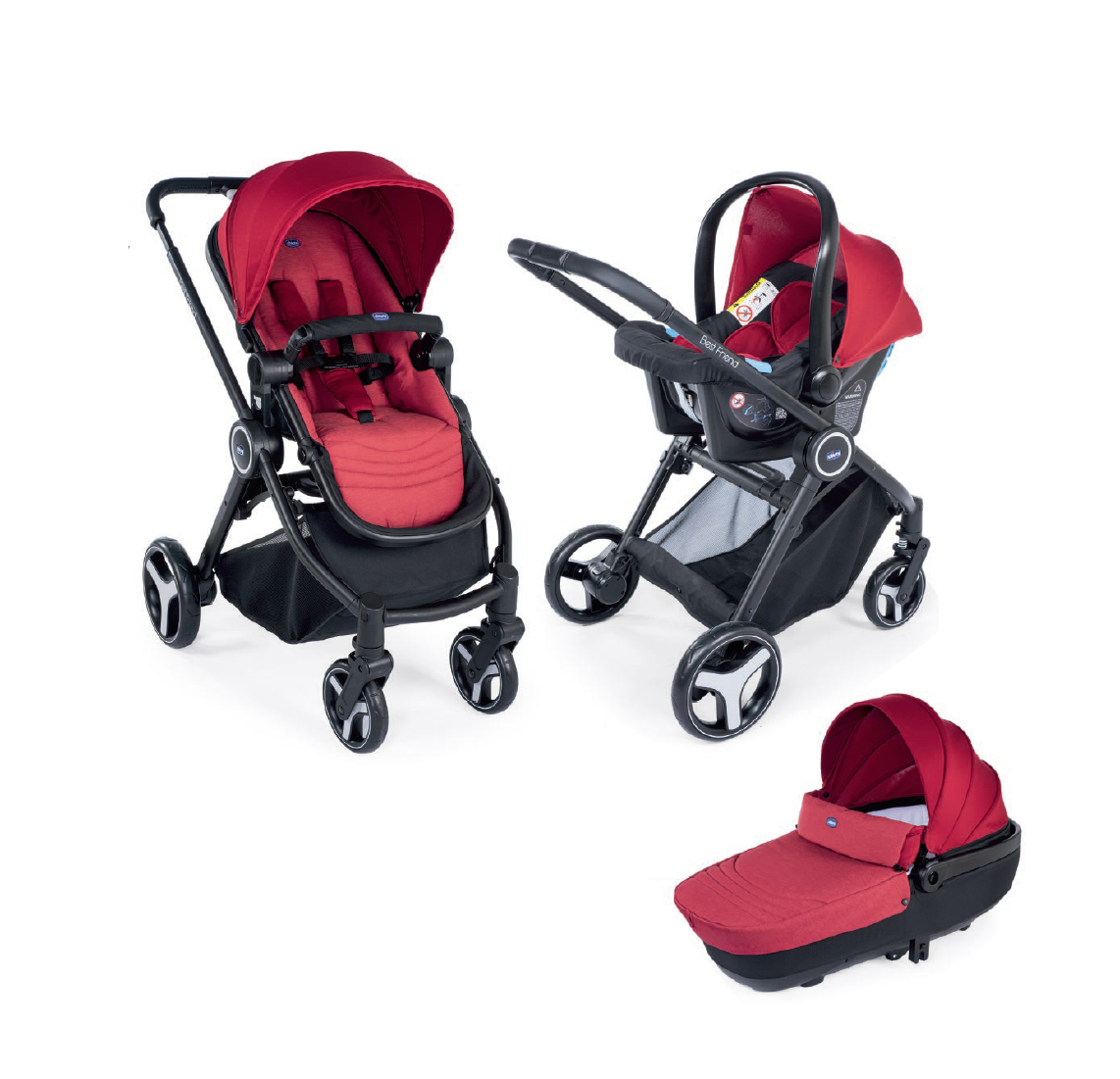 Carucior 3 in 1 Chicco Trio Best Friend Comfort, Red (Rosu), 0luni+