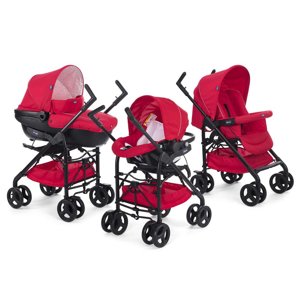 Carucior 3 in 1 Chicco Trio Sprint, RedPassion, 0luni+