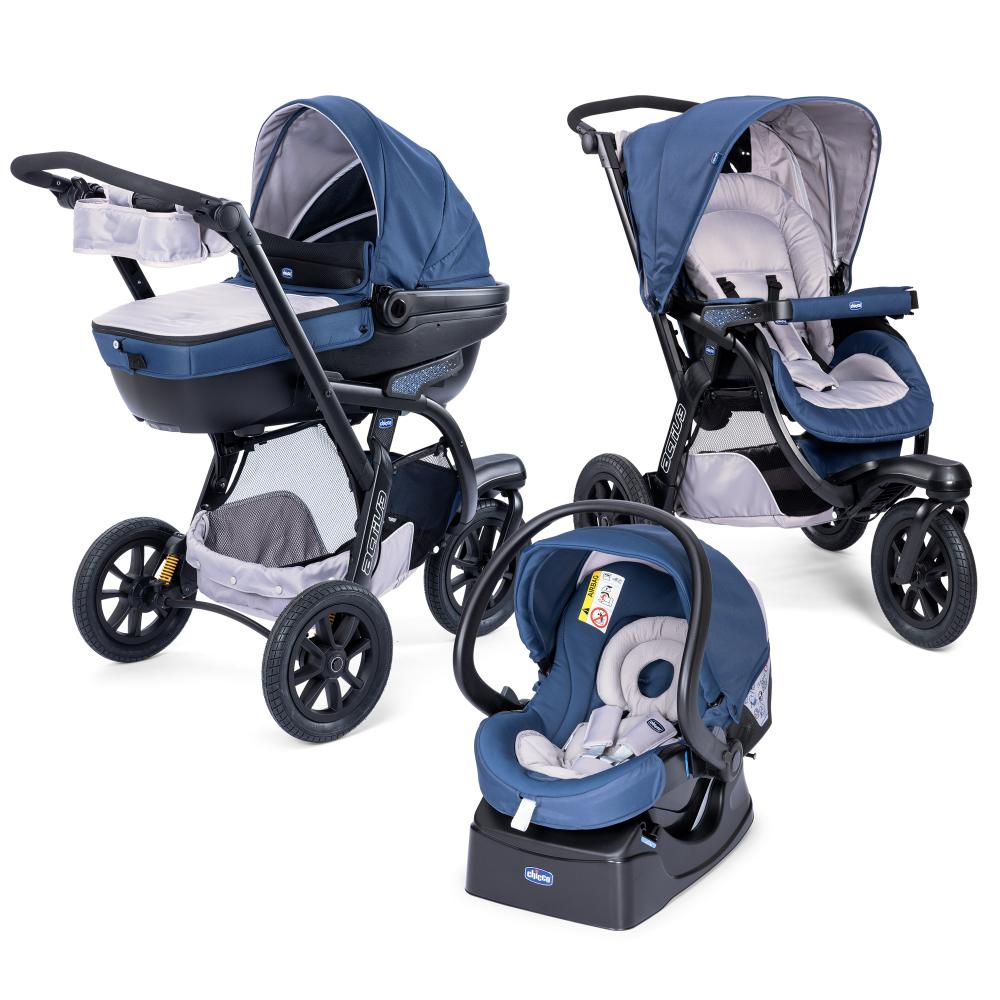 Carucior Chicco Trio Activ3, Car Kit, 0+luni, BluePassion