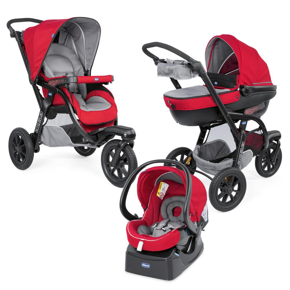 Carucior Chicco Trio Activ3, Car Kit, 0+luni, Red Berry din categoria Carucioare 3 in 1