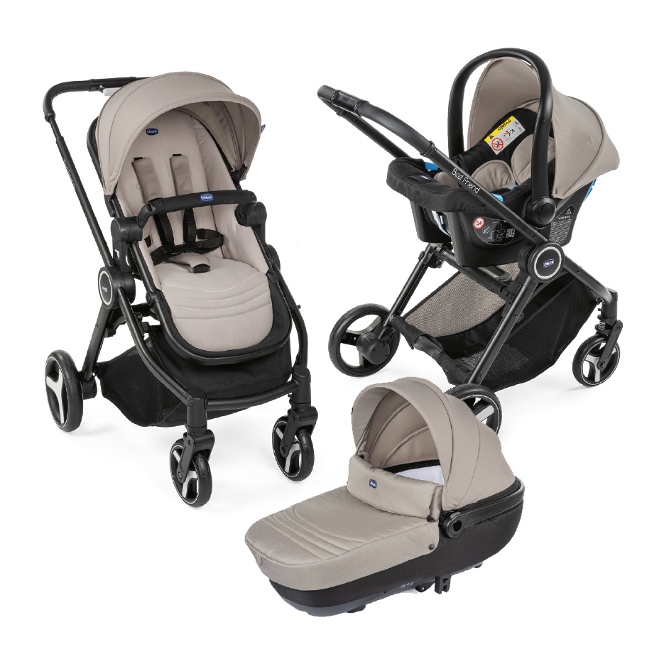 Carucior copii 3 in 1 Chicco Best Friend+ Comfort, HazelWood (Maro), 0luni+