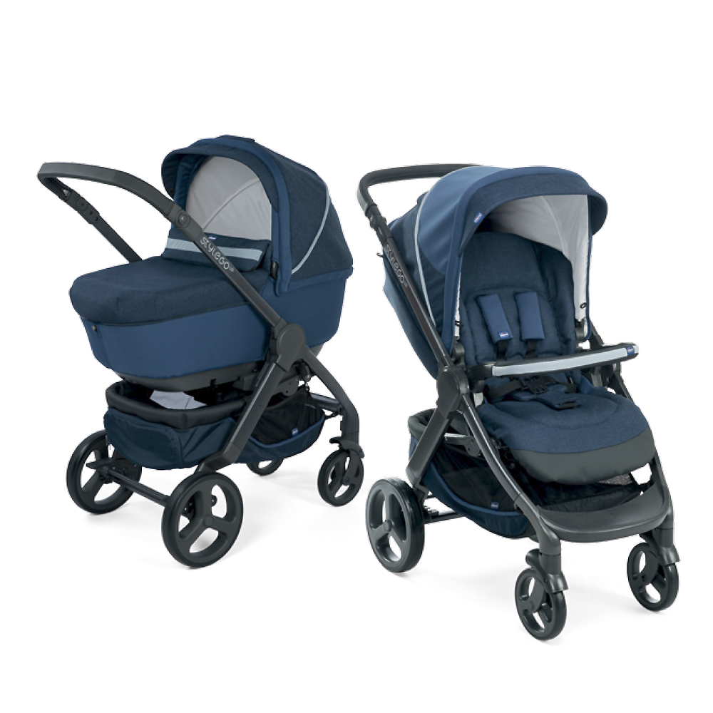 Carucior copii Chicco Duo Style Go Up Crossover, Blue Passion, 0luni+