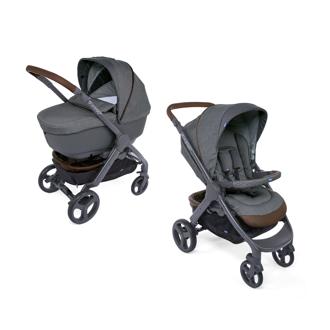 Carucior copii Chicco Duo Style Go Up Crossover, Cool Grey (Gri), 0luni+