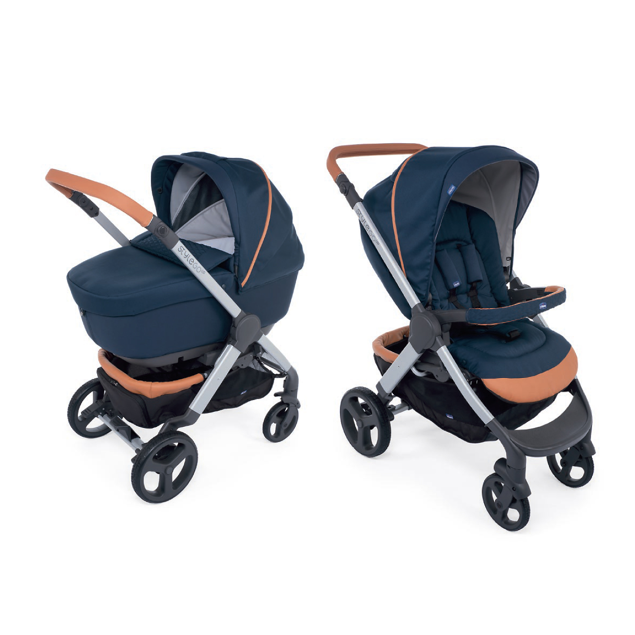 Carucior copii Chicco Duo Style Go Up Crossover, Iconic Blue (Albastru), 0luni+