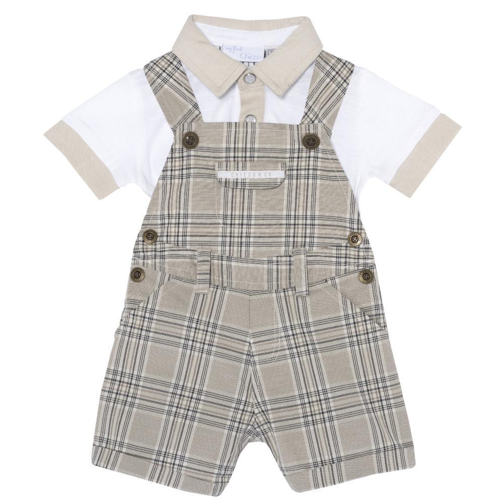 Costum bebelusi Chicco, salopeta si tricou, alb cu dungi